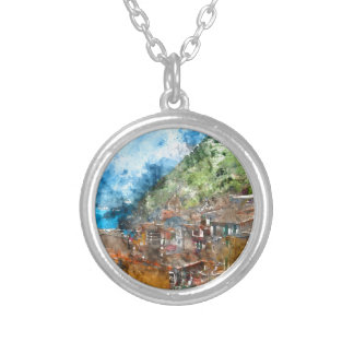 Scenic view of colorful village Vernazza and ocean Silver Plated Necklace