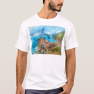 Scenic view of colorful village Vernazza and ocean T-Shirt
