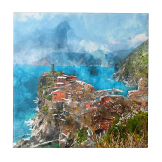 Scenic view of colorful village Vernazza and ocean Tiles