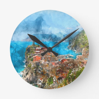Scenic view of colorful village Vernazza and ocean Wallclocks
