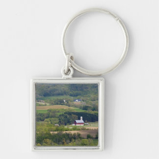 Scenic view of farmland south of Arcadia, Silver-Colored Square Keychain