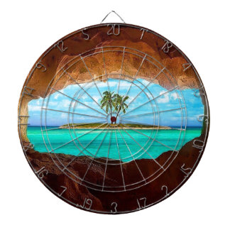 Scenic water and palm trees dartboard