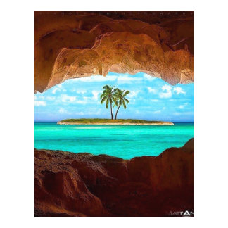 Scenic water and palm trees letterhead