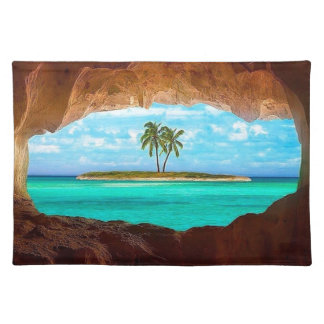 Scenic water and palm trees placemat