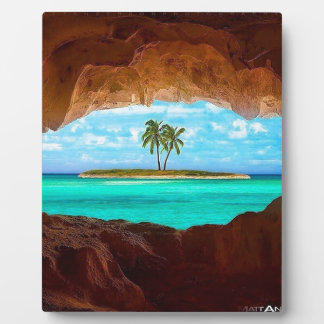 Scenic water and palm trees plaque