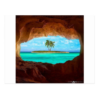 Scenic water and palm trees postcard