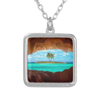 Scenic water and palm trees silver plated necklace