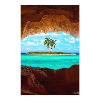 Scenic water and palm trees stationery