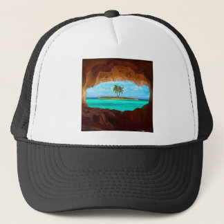Scenic water and palm trees trucker hat