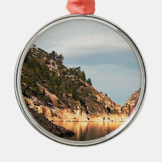 Scenic western waters Silver-Colored round ornament