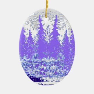 Scenic Winter Purple Forest ART Ceramic Oval Ornament