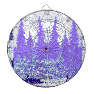 Scenic Winter Purple Forest ART Dartboard With Darts