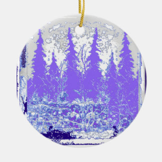 Scenic Winter Purple Forest ART Round Ceramic Ornament