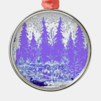 Scenic Winter Purple Forest ART Silver-Colored Round Ornament