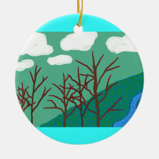 Scenic with Clouds Round Ceramic Ornament
