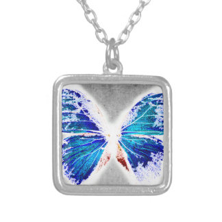 scetch buterfly 2 silver plated necklace