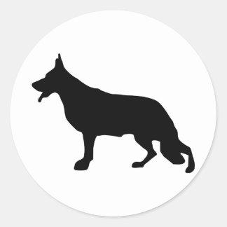 Schäferhund-Hundeschwarzes Classic Round Sticker