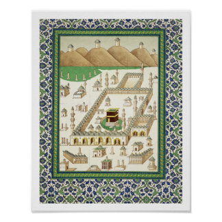 Schematic View of Mecca, showing the Qua'bah, from Poster