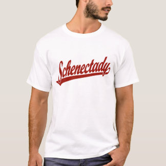 Schenectady script logo in red T-Shirt