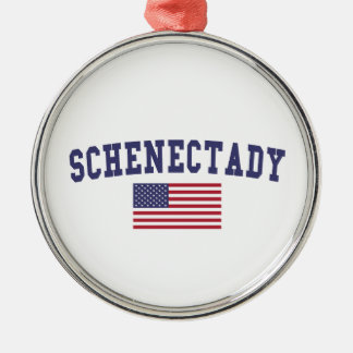 Schenectady US Flag Metal Ornament