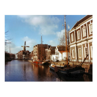Schiedam, windmills and barges postcard