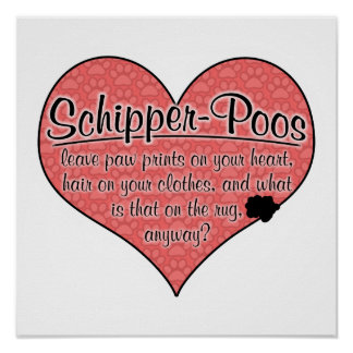 Schipper-Poo Paw Prints Dog Humor Posters