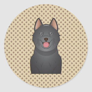 Schipperke Cartoon Classic Round Sticker