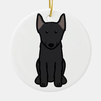 Schipperke Dog Cartoon Ceramic Ornament