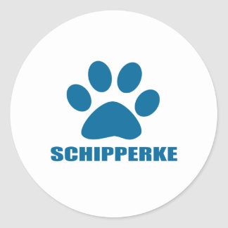 SCHIPPERKE DOG DESIGNS CLASSIC ROUND STICKER