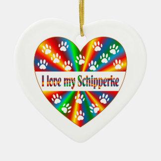 Schipperke Love Ceramic Ornament