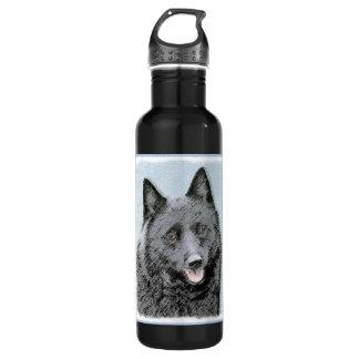 Schipperke Painting - Cute Original Dog Art 710 Ml Water Bottle