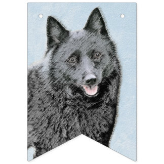 Schipperke Painting - Cute Original Dog Art Bunting Flags