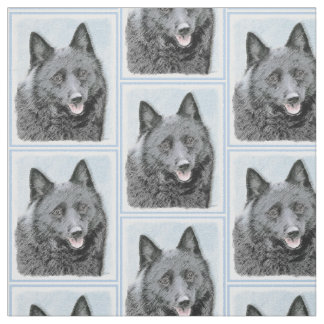 Schipperke Painting - Cute Original Dog Art Fabric