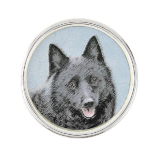 Schipperke Painting - Cute Original Dog Art Lapel Pin
