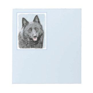 Schipperke Painting - Cute Original Dog Art Notepad