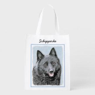 Schipperke Painting - Cute Original Dog Art Reusable Grocery Bag