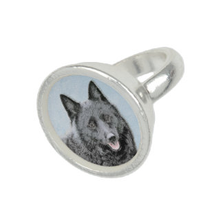 Schipperke Painting - Cute Original Dog Art Ring