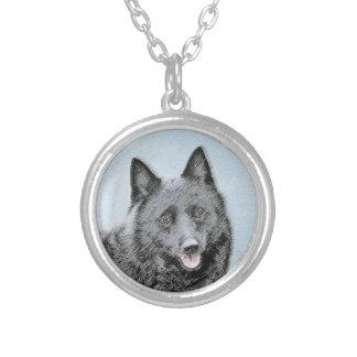 Schipperke Painting - Cute Original Dog Art Silver Plated Necklace