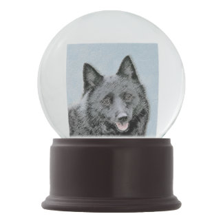 Schipperke Painting - Cute Original Dog Art Snow Globe