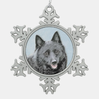 Schipperke Painting - Cute Original Dog Art Snowflake Pewter Christmas Ornament