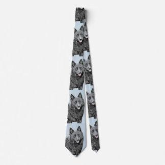 Schipperke Painting - Cute Original Dog Art Tie