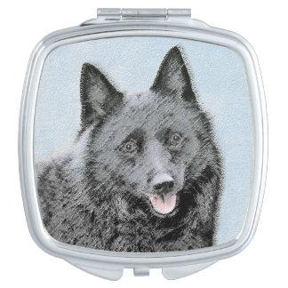 Schipperke Painting - Cute Original Dog Art Vanity Mirror