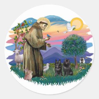 Schipperke (two) round sticker