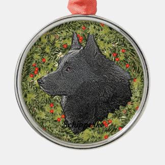 Schipperke Wreath Metal Ornament