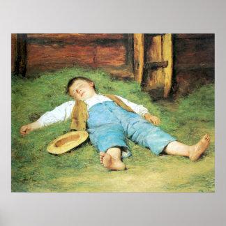 Schlafender Knabe im Heu Boy Sleeping in Hay Poster