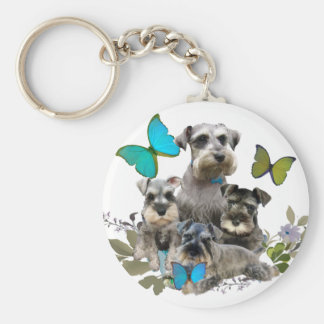 Schnauzer and Butterflies gifts and apparel Keychain