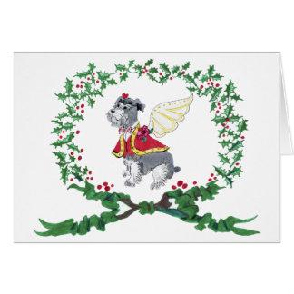 Schnauzer Barking for Joy Holiday Card