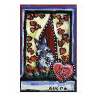 Schnauzer be mine Valentine heart Postcard