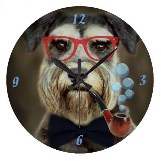 Schnauzer Blowing Bubbles Clock