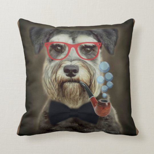 Schnauzer Blowing Bubbles Throw Pillow